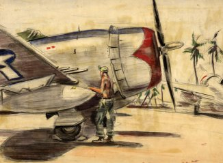 Mechanic and a Republic P-47D Thunderbolt